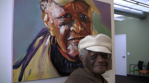 Eunice Samuel, 85 and her portrait done by artist Seth Ruggles Hiler